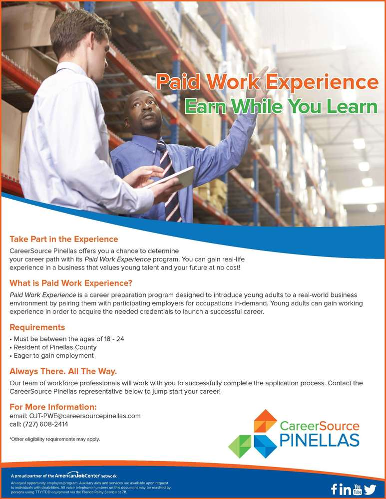 Paid Work Experience Program Flyer - Pinellas