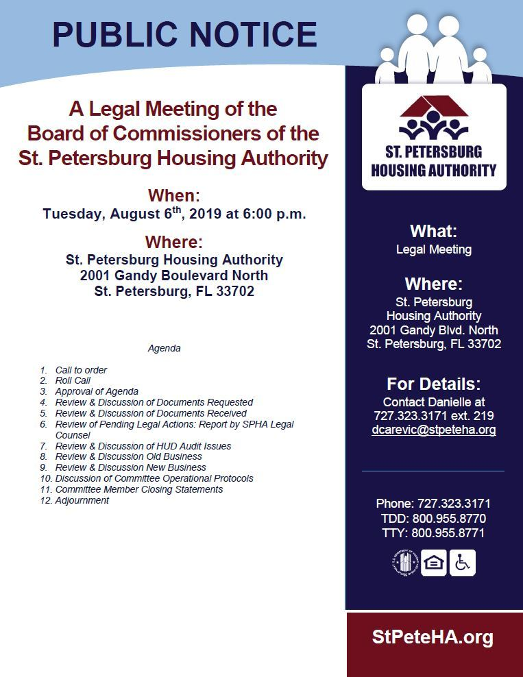 Public Notice of August 6th Legal Meeting