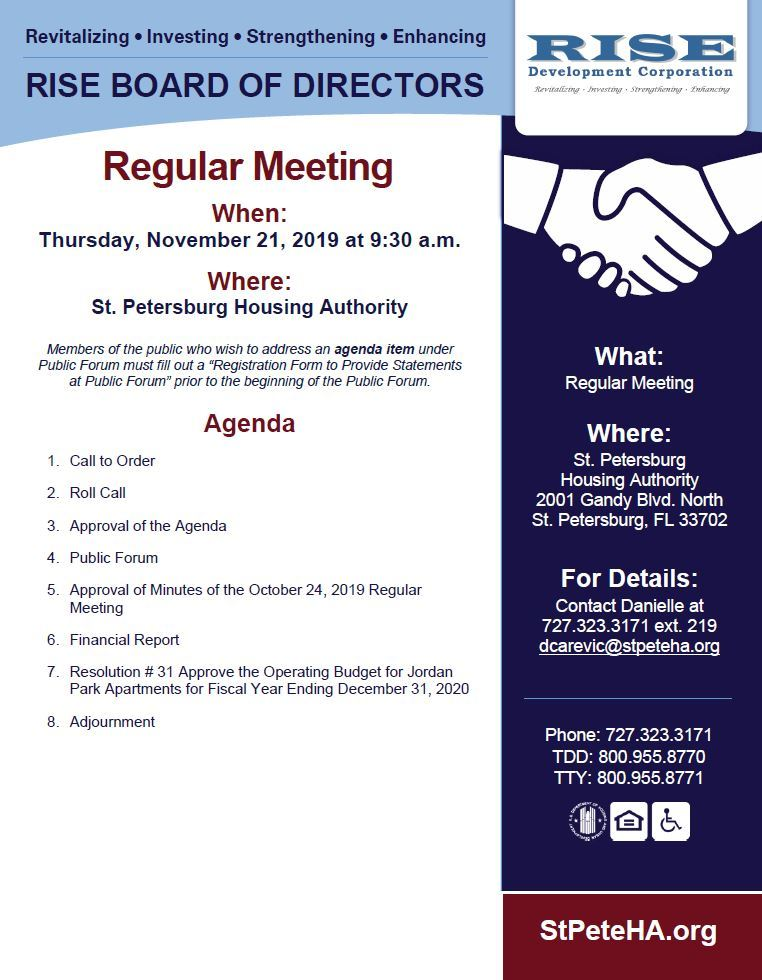 Flyer for RISE Regular Board of Directors meeting 11/21