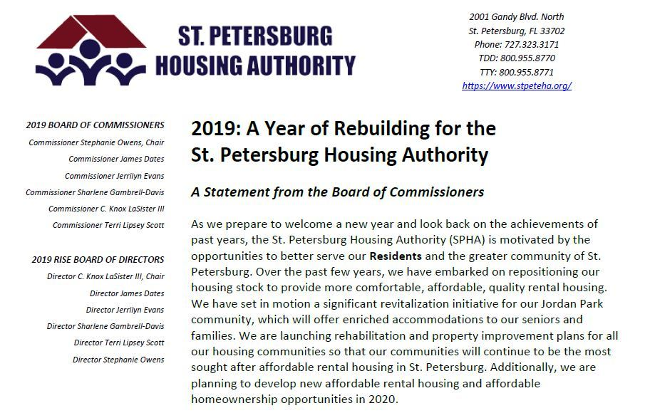 2019 a year of rebuilding, statement from board