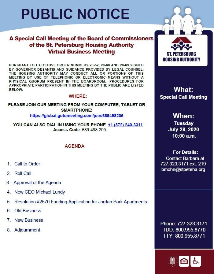 Flyer of 7/28 Special Call Board of Commissioners Meeting