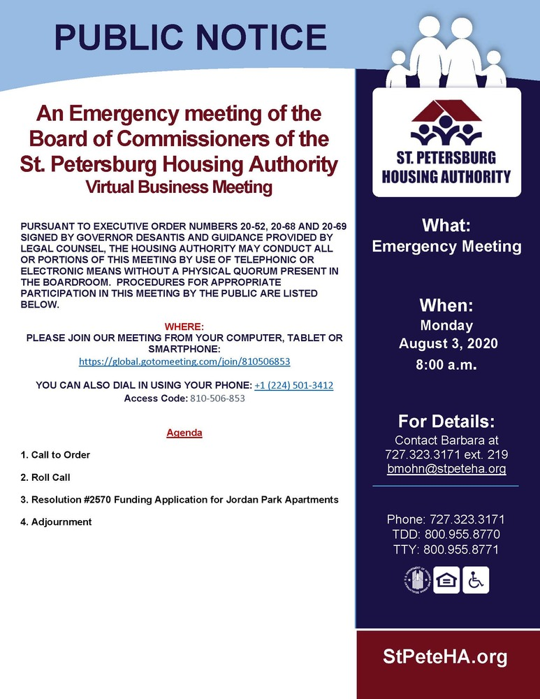 Emergency Meeting - Public Notice 8-3-20 all information listed above