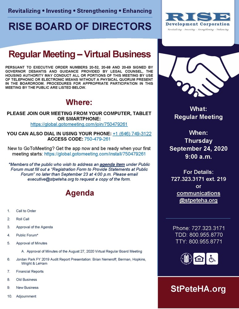 9.24.20 RISE Meeting - Public Notice - All information listed above