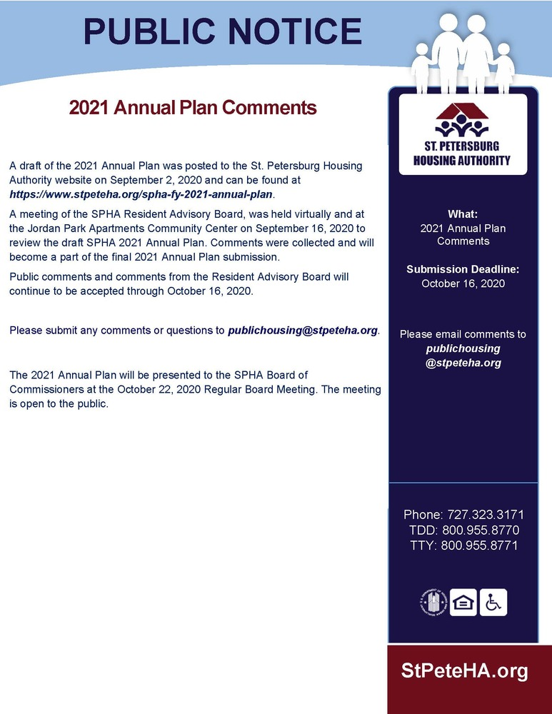 2021 Annual Plan Public RAB comments notice all info listed above