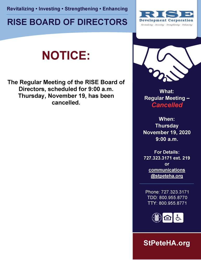 RISE Board Meeting Public Notice - Cancelled