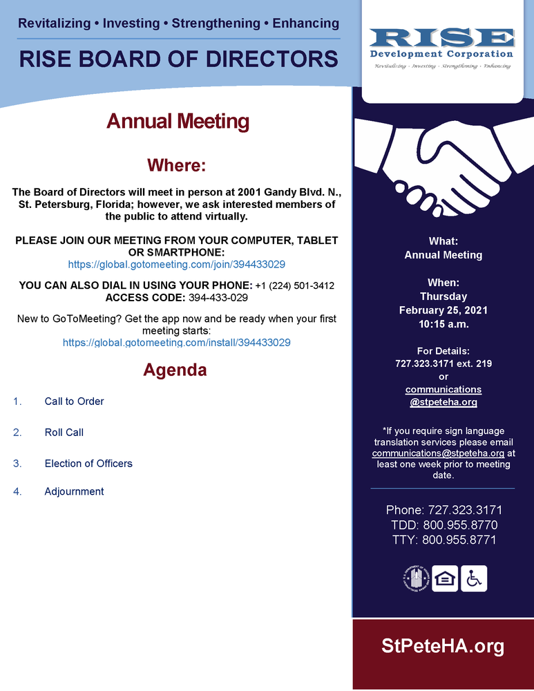 RISE Annual Meeting public notice