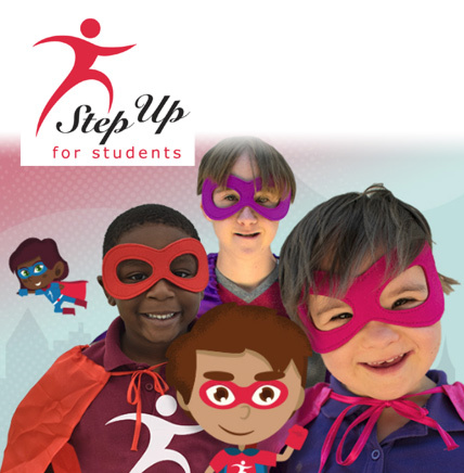 photo of step up logo and kids being superheros