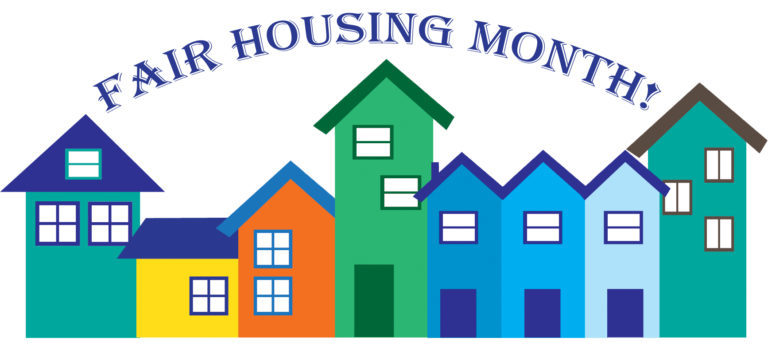 Fair Housing Month stylized houses in a row