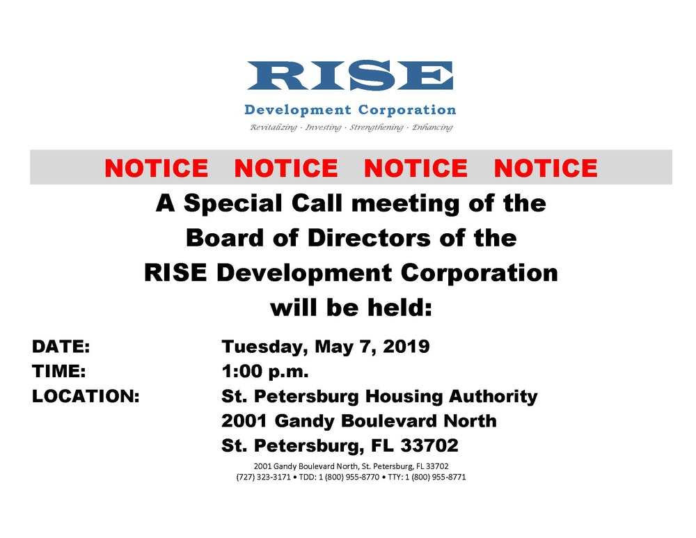 Public Notice - RISE Regular meeting  5.7.2019