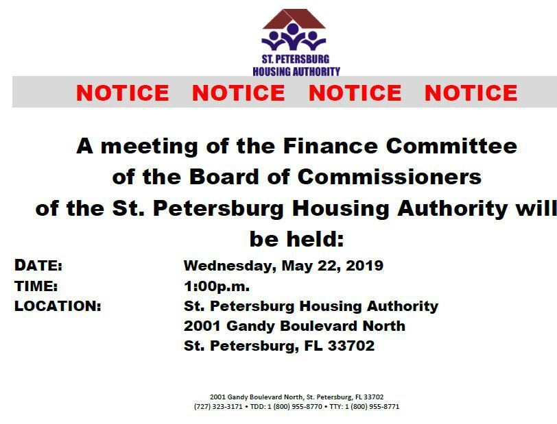 May 22, 2019 at 1:00pm Finance Committee Meeting