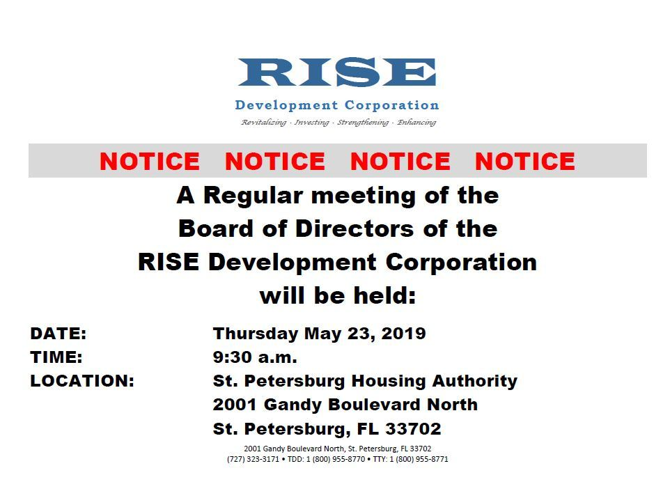 5-23 Public Notice RISE Board Meeting 5/23/19 at 9:30am
